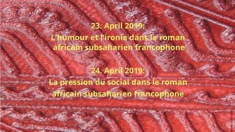 Plakat zur Ankündigung der Gastvorträge von Frau Prof. Dr. Hanane Essaydi (Université Cadi Ayyad, Marrakesch) am Centrum Frankreich / Frankophonie der TU Dresden am 23. und 24. April 2019