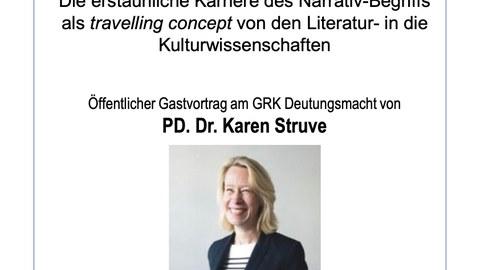 Plakat zur Ankündigung des Gastvortrags von PD Dr. Karen Struve am GRK Deutungsmacht an der Universität Rostock am 26.11.20