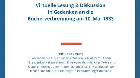 Plakat zur Ankündigung der virtuellen Lesung und Diskussion in Gedenken an die Bücherverbrennung am 10. Mai 1933