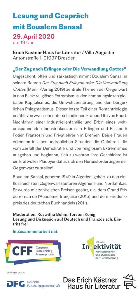 Flyer zur Lesung Boualem Sansal am 29.04.20, Seite 2