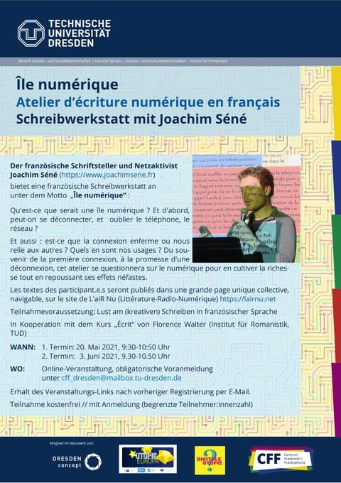 Plakat zur Ankündigung der französischen Schreibwerkstatt mit Joachim Séné am 20. Mai und 3. Juni 2021