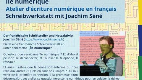 Plakatausschnitt zur Ankündigung der französischen Schreibwerkstatt mit Joachim Séné am 20. Mai und 3. Juni 2021
