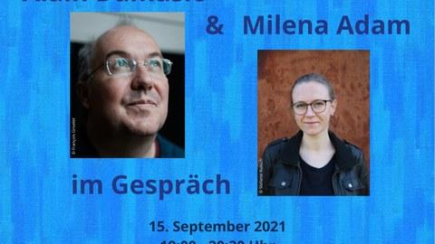 """Plakat zur Ankündigung der Lesung """"Die Flüchtigen"""" - Alain Damasio und Milena Adam im Gespräch am 15. September 2021 in Dresden"""