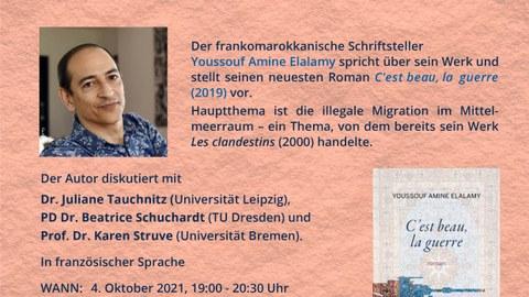 Plakat zur Lesung von Youssouf Amine Elalamy am 4.10.21