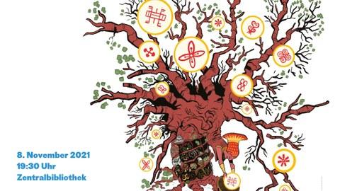 """Plakat zur Ankündigung von Ausstellung und Gespräch """"Kubuni - Comics aus Afrika"""" im November 2021, Zentralbibliothek Dresden"""