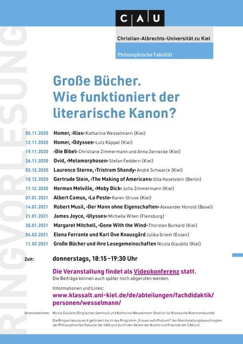 """Plakat mit dem Programm der Ringvorlesung """"Große Bücher. Wie funktioniert der literarische Kanon?"""" im Wintersemester 2020/21 an der Christian-Albrechts-Universität zu Kiel"""