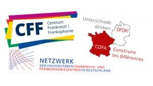 """Collage aus den Logos Centrum Frankreich / Frankophonie, Deutsch-Französisches Doktorandenkolleg """"Unterschiede denken"""" und Netzwerk universitärer Frankreich- und Frankophoniezentren in Deutschland"""