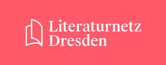 Logo von Literaturnetz Dresden, roter Hintergrund mit weißer Schrift