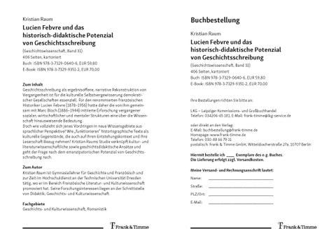 Flyer zum Buch von Kristian Raum: Lucien Febvre und das historisch-didaktische Potenzial von Geschichtsschreibung, Verlag Frank & Timme 2020
