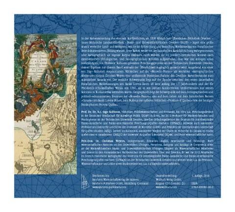 Christian Weyers (2016):  Die Vermessung der Nouvelle-France. Historische Land- und Seekarten von Kanada aus dem 17. und 18. Jahrhundert in der Kurfürstlichen Bibliothek zu Dresden.  (Rückseite))