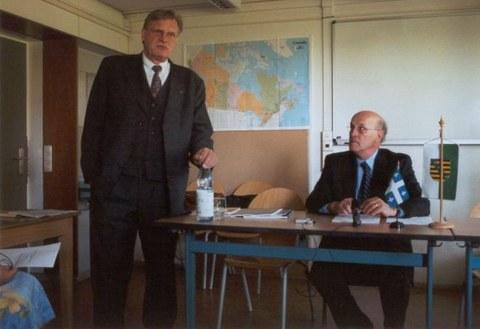 Besuch von Denis Bédard im Cifraqs 2006: Prof. Kolboom bei der Einführung der Podiumsdiskussion mit den Studierenden..