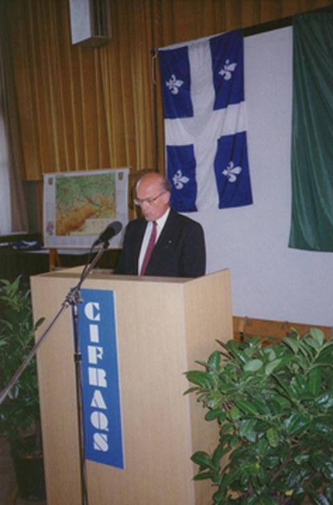 Monsieur Denis Bédard, Generaldelegierter der Regierung von Québec bei seiner Eröffnungsrede