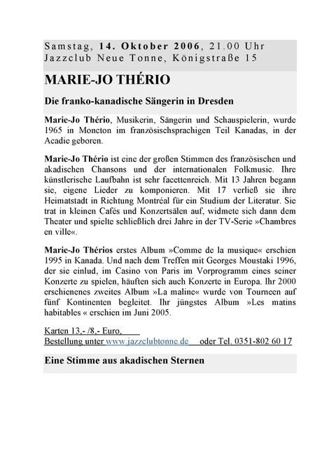 Plakat zur Ankündigung des Konzertes von Marie-Jo Thério 2006