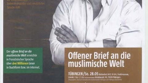 """Plakat zur Lesung und Diskussion mit Abdennour Bidar """"Offener Brief an die muslimische Welt"""" am 1. Juni 2017"""