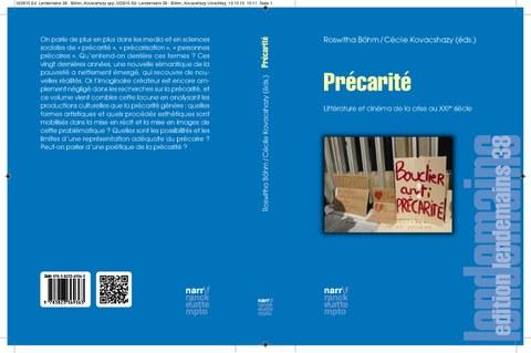 Das Foto zeigt den Buchumschlag von Roswitha Böhm und Cécile Kovacshazy (Hg.): Précarité. Littérature et cinéma de la crise au XXIe siècle, Gunter Narr 2015.