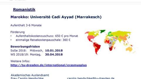 Plakat zur Ankündigung Erasmus + Marokko 2017-2019
