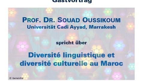 Plakat zur Ankündigung des Gastvortrags von Frau Prof. Dr. Souad Oussikoum am 11.07.17