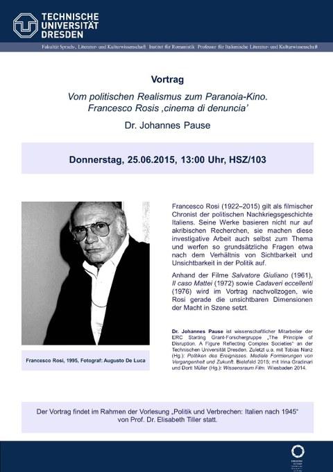 Plakat Gastvortrag Johannes Pause