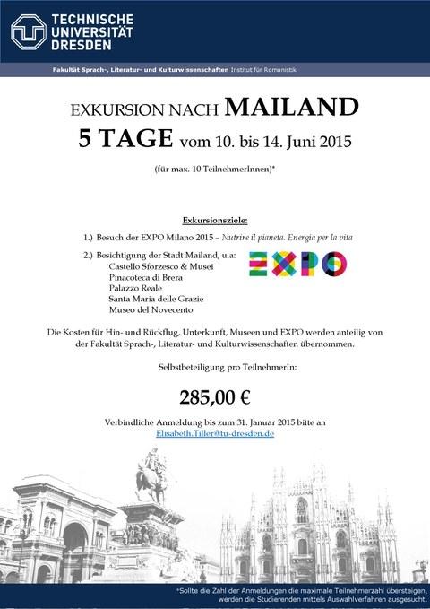 Plakat zur Mailand-Exkursion