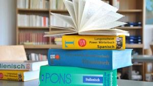 Wörterbücherstapel Romanistik