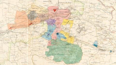 Kartenausschnitt mit Kennzeichnung von Grubenfeldern und Werksanlagen in Schlesien
