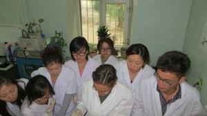 Studierende bei einer Übung im Labor