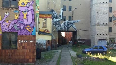 heruntergekommene Hausfassaden mit Grafitti an den Wänden. Grüner Innenhof