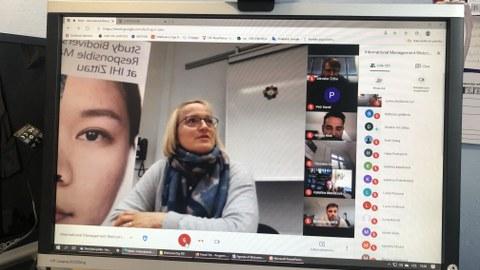 Screenshot von der Videokonferenz zur Begrüßung der Liberecer Studierenden