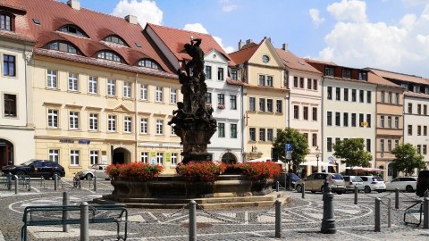 Market place with a fountain in Zittau