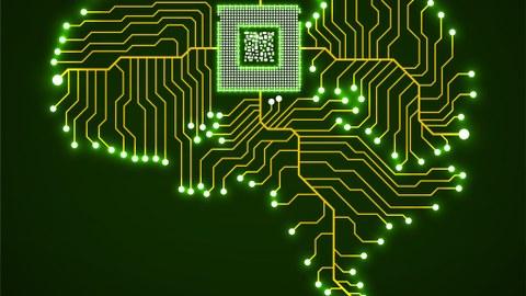 Allegorie: integrierter Schaltkreis leuchtend in einem GehrinGehirm