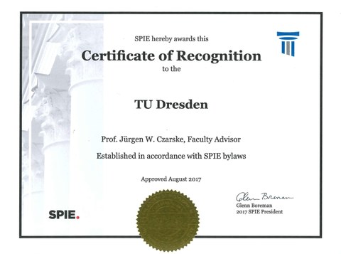 SPIE Certificate of Recognition