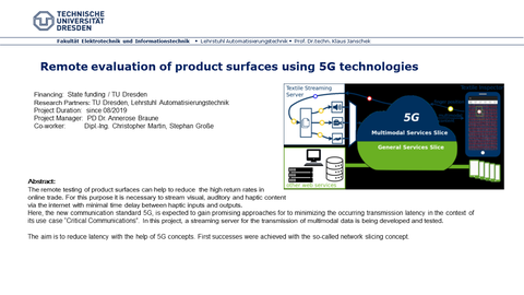 Remote evaluation of product surfaces using 5G technologies