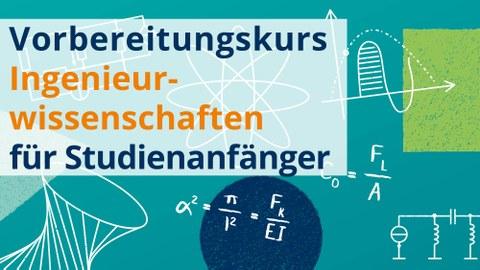 """Grafik: im Hintergrund eine hellblaue Tafel mit mathematischen Formaln. Im Vordergrund ein Schriftzug """"Vorbereitungskurs"""""""