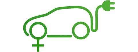Grafik: Ein Elektroauto mit dem Weiblichkeit-Symbol