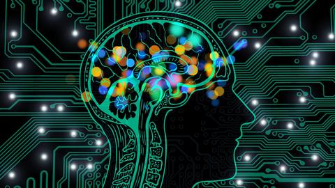 Grafik, Skizze eines Gehirns auf dem Hintergrund mit einer Leiterplatte