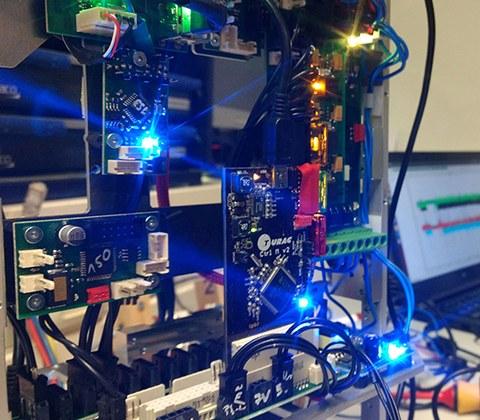 Ein Blick in das Innenleben des Roboters, den die TU Dresden Robotik AG für den Eurobot 2017 gebaut hat.