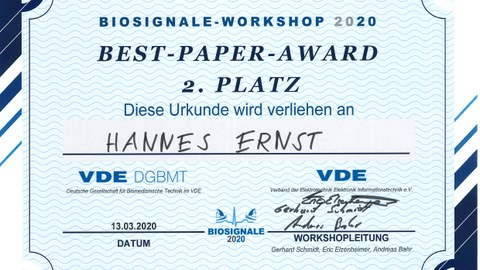 Best Paper Award Hannes Ernst