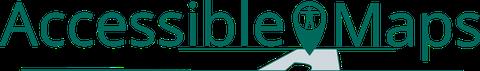 """Logo """"Accessible Maps"""" mit türkisem Schriftzug über einer angedeuteten Gebäudekarte"""