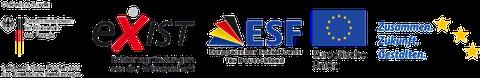 """Logos: Förderlogo des Bundesministerium für Wirtschaft und Energie (BMWi), EXIST-Logo, Europäischer Sozialfonds für Deutschland (ESF), Europäische Union, ESF-Claim """"Zusammen. Zukunft. Gestalten."""""""