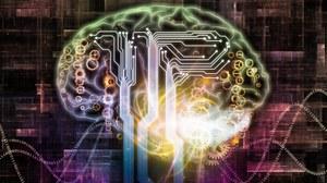 Schematisches Bild eines Gehirns gefüllt mit Symbolen aus Elektronik und Informatik.