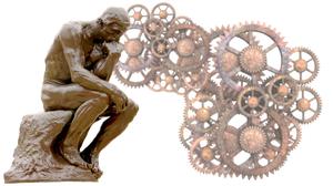 Rodin's Denker und Zahnräder