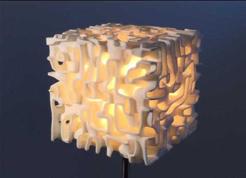 Designed lamp using bicontinuous structure
