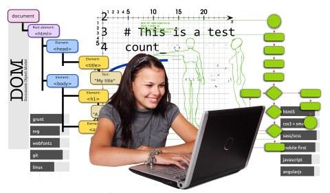Schülerin vorm Laptop mit Aufgaben im Hintergrund