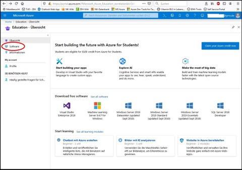 Azure DevTools for Teaching Main Catalog View