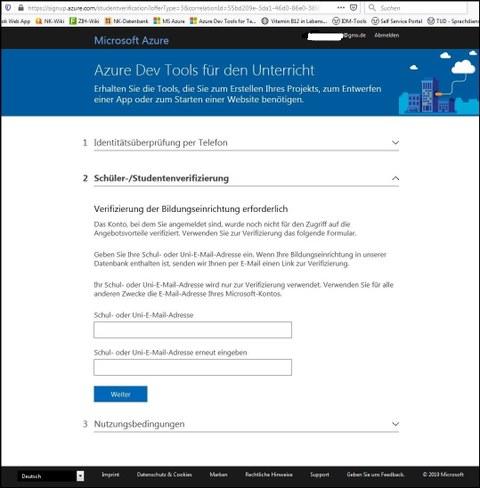 Azure DevTools for Teaching Registration form