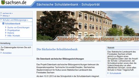 Screenshot Startseite Sächsische Schuldatenbank