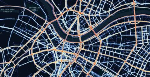 Heatmap der Verkehrswegenutzung in Dresden (c) Movebis