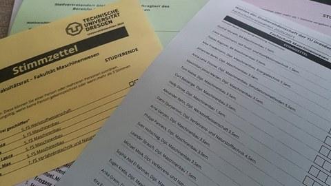 Wahlzettel für Universitätswahlen 2020