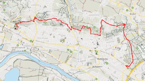 Karte mit Route der Wanderung an den Weinbergen von Radebeul entlang