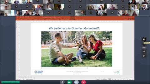 Abschlussfolie GoToMeeting mit Teilnehmerfotos